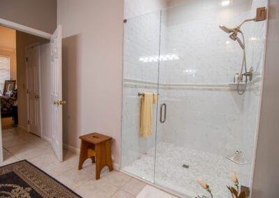 Standing Glass Bathroom with Mat and Stool Bathroom Modeling